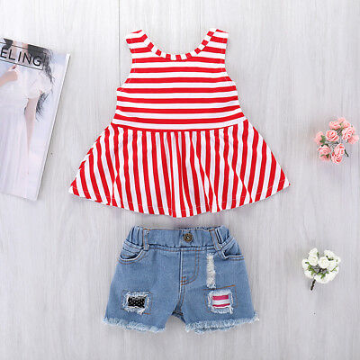2Pcs Toddler Kids Baby Girls Clothes T-shirt Tops Dress+Jeans Pants Outfits Set