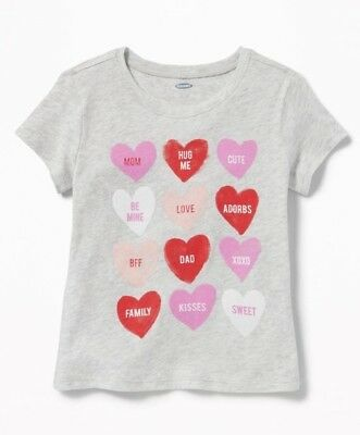 8a16b258 Old Navy Toddler Girl's Gray Hearts Short Sleeve Graphic Tee T-Shirt Size  3T 1 of 5 See More