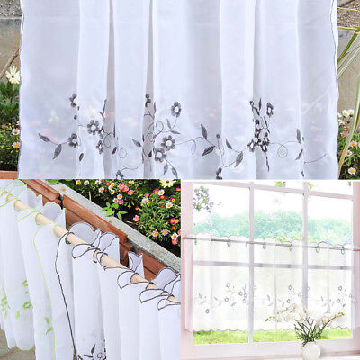 EMBROIDERED LACE HALF Valance Eyelet Tier Curtains Kitchen ...