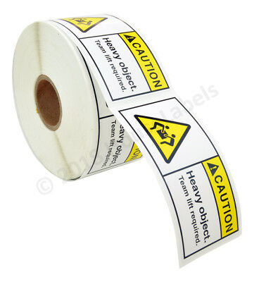 "1 roll 500 labels per roll 3""x1.5"" CAUTION HEAVY OBJECT TEAM LIFT REQ. Labels"