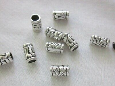 10 Large Hole 11mmx7mm Antique Coloured Silver Bead Spacers #3315 Findings Craft