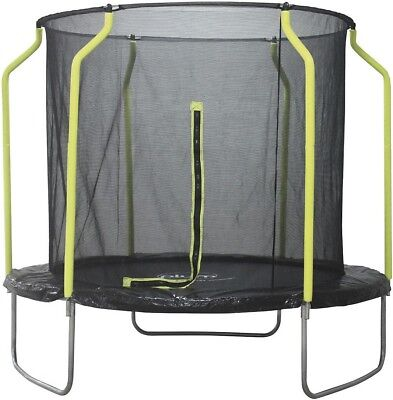 NEW Plum Steel 8ft Round Trampoline with Safety Net Enclosure (Black/Green)