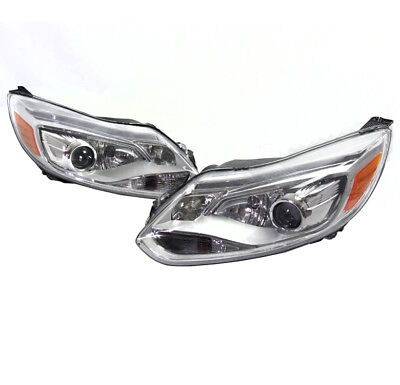 12-14 Ford Focus S Se Sel St Drl Led Projector Headlights Chrome Housing Used