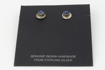 Vintage Genuine Indian Handmade Sterling Silver & Blue Stone Stud Earrings