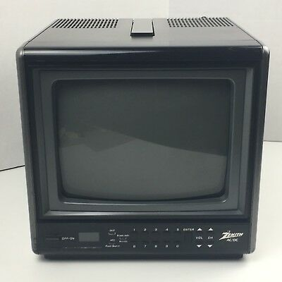 "Vintage Color Tv Zenith 9"" Portable w Handle Ac Dc Model D0930S CRT Tested Works"
