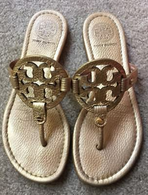 66e35031e Tory Burch Metallic Gold Tumbled Leather Miller Sandals Millers Flip Flops  6 M