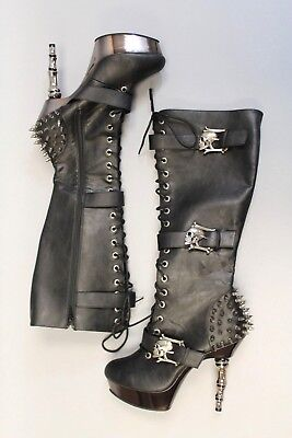 fa313b44c1e Demonia Muerto 2028 Skull Spiked Platform Knee High Boots AB4 Black Size 12
