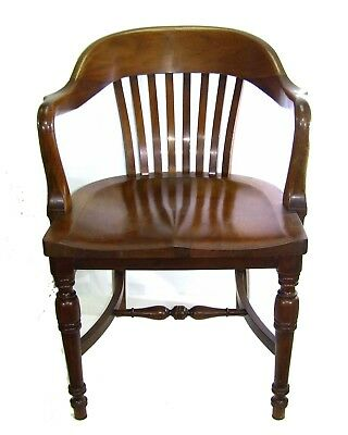 Antique Walnut & Mahogany Bankers Chair Marble Shattuck Chair Co.*