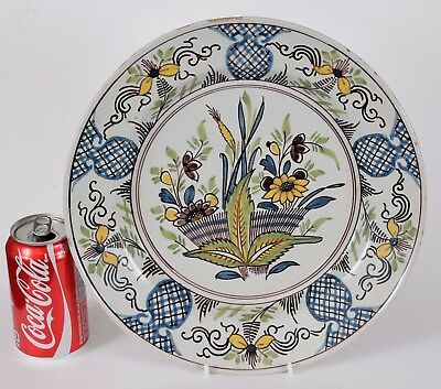 Antique Polychrome Delft Pottery Charger 12 1/8 Inches Excellent Tin Glazed