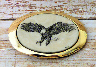 American Bald Eagle Scrimshaw Solid Brass Vintage Belt Buckle