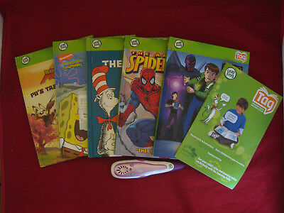 Leap Frog Tag Reading System with 5 Books Preloaded on Purple Reader Pen in VGC