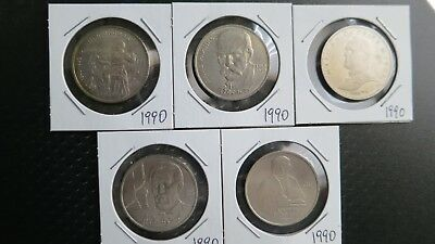 Russia USSR set of 5 x 1 ruble coins 1990.