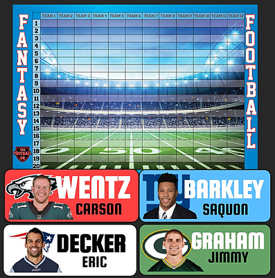 Fantasy Football Draft Kit 2018 - COLOR RUSH Labels & Draft Board -TheFootballDR