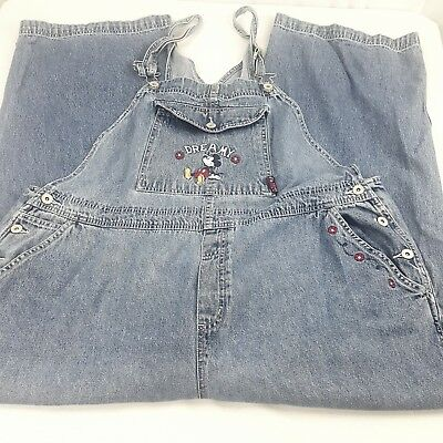 Mickey Mouse Overall Womens 22 Jean Denim Cotton Dreamy Jerry Leigh Vintage 90s