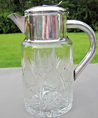 Cut Crystal and Silver Plate Pitcher W- Glass Ice Insert Hobstars and Cane 52 oz