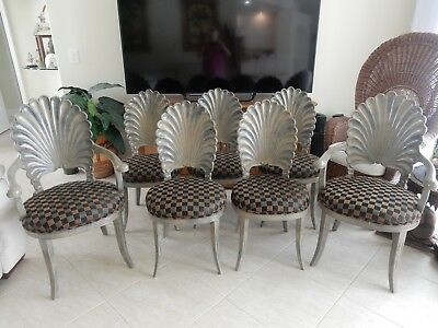 (Revised)  Vintage Venetian Grotto  Shell Back Dining Chairs Set Of 8