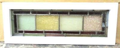 "VICTORIAN ENGLISH LEADED STAINED GLASS WINDOW Delightful Squares 21.5"" x 8"""