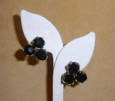 "Classic Black Glass Bead Earrings by ""Vogue"" Jewelry"