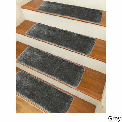 Stair Treads Set Indoor Wood Floors Non Skid Slip Carpet Rugs Pads Rubber  Grey