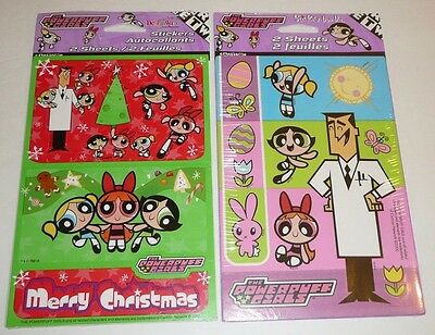 Powerpuff Girls Lot of 2 Sticker Set Cartoon Network Christmas Easter Holiday