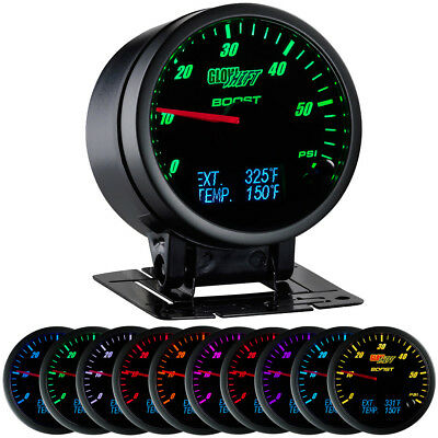 GLOWSHIFT 3in1 BLACK FACE DIESEL COMBO GAUGE MONITOR BOOST TRANS PYRO GAUGES
