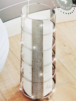 Stylish Sparkling Diamante Crystal Toilet Roll Storage Tower Holder Stand Chrome