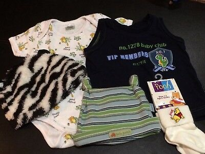 Baby Hats, Bodysuit, Singlet and socks Winnie The Pooh bundle