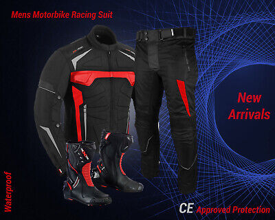 Motorbike Armoured Jacket Trouser Waterproof Motorcycle Riding Suit Racing Boots