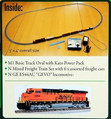 Kato KAT1060024 N ES44AC Freight Train Set, BNSF/Wedge New