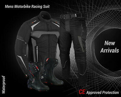 Motorcycle Motorbike Mens Racing Suit Jacket Pant Waterproof Leather Boots Shoes