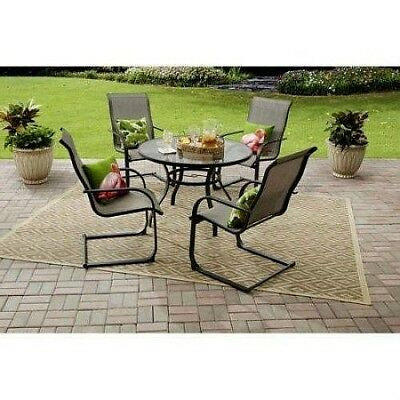 5 PIECE Dining Set Outdoor Patio Garden Furniture Table Chairs Steel Frame Grey