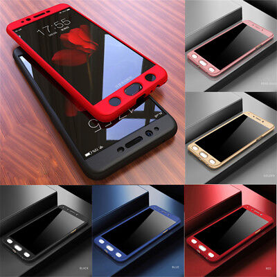 For Samsung Galaxy S6 S7 S8 S9 Plus 360° Full Cover Hybrid Case+Tempered Glass