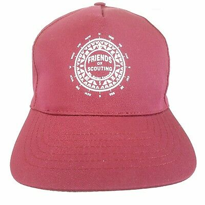 New vtg BSA red friends of scouting Hat Cub Scouts compass cap snapback H3