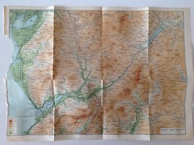 Cader Idris District 1922 Antique County Map, Wales, Bartholomew Atlas, Barmouth