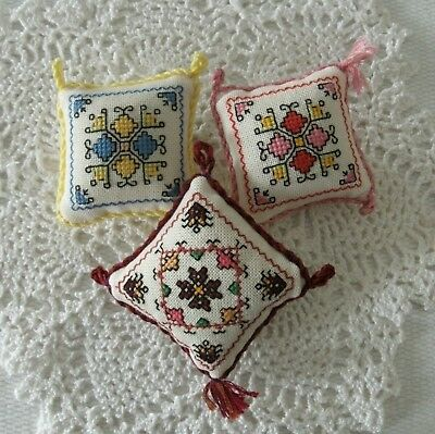 3 piece mini pin cushion cross stitch 6x6cm vintage handmade pin keep