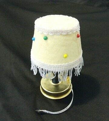 Vintage pin cushion pin keep lamp with tape measure fringe trim yellow