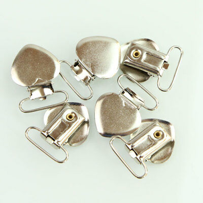 20 Pcs Heart Shape Pacifier Suspender Clips Holder Crafts Metal Plastic Insert