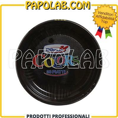30 Piatti Di Plastica Colorati Dopla Colors Ø22 Nero Feste Party Apericena