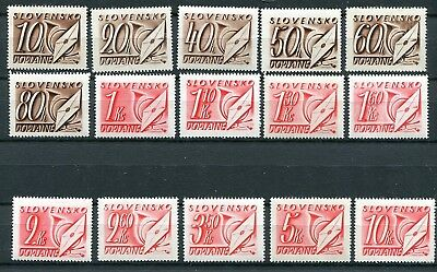 Slovakia Ww2 German Puppet State 1942 J24-J38 Scarce Postage Due Set Perfect Mnh