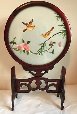 Vintage Chinese Table Top Silk Embroidered Screen Signed 2 Sided BIRDS Pivots