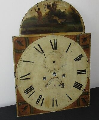 Nice English Antique Arched Grandfather Clock Dial. Hand Painted