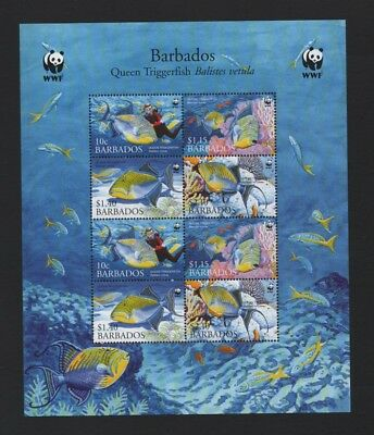 Barbados 2006 Wwf Queen Triggerfish Sheetlet Of 2 Sets *vf Mnh*