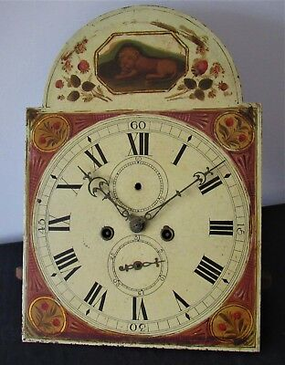 Nice 8 Day English Arched Grandfather Clock Movement & Dial. Hand Painted