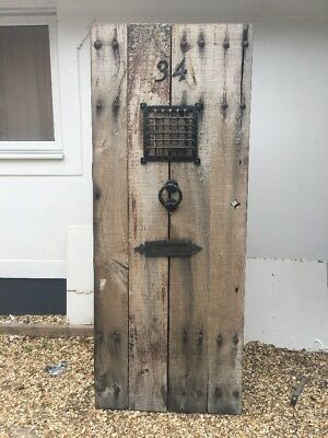 Medieval Solid Oak Front Door Salvage Antique Period Old Reclaimed Iron Wood.
