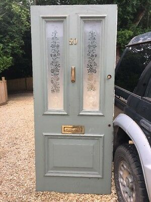 X Large Victorian Etched Glass Front Door Period Old Reclaimed Antique Pine Wood