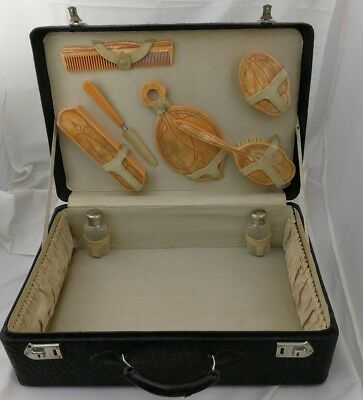 Travelling Vanity Set 1930s Art Deco Walrus Leather Case Complete