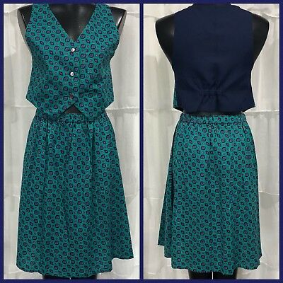XS - Vintage 70's Vest Top And Skirt Set Green/Navy Print