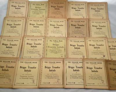 55x Antique Vtg Briggs Yellow Book Embroidery Transfers Initials Monograms