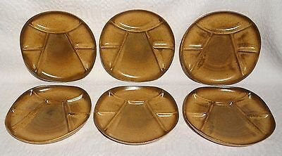lot x 6 assiettes a fondue en GRES couleur moutarde,vintage