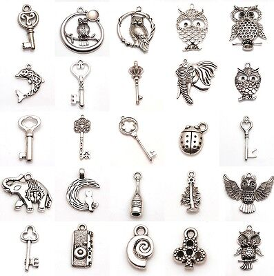New Alloy Bulk Mixed Tibetan Silver Charm Pendants Beads DIY Jewelry Findings